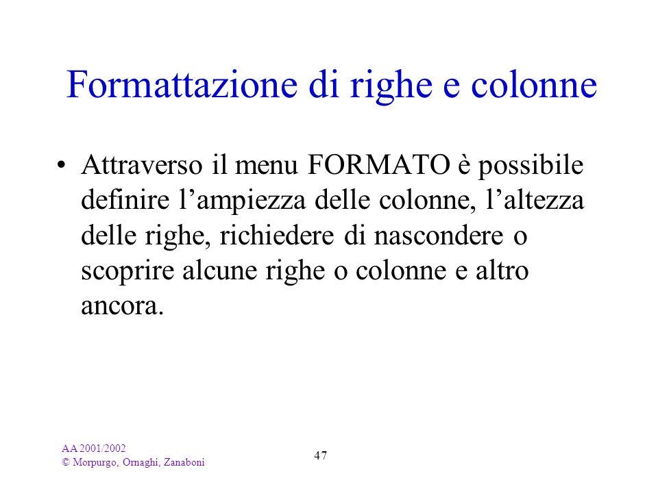 AA 2001/2002 © Morpurgo, Ornaghi, Zanaboni 47 Formattazione di righe e colonne Attraverso il menu FORMATO è possibile definire lampiezza delle colonne