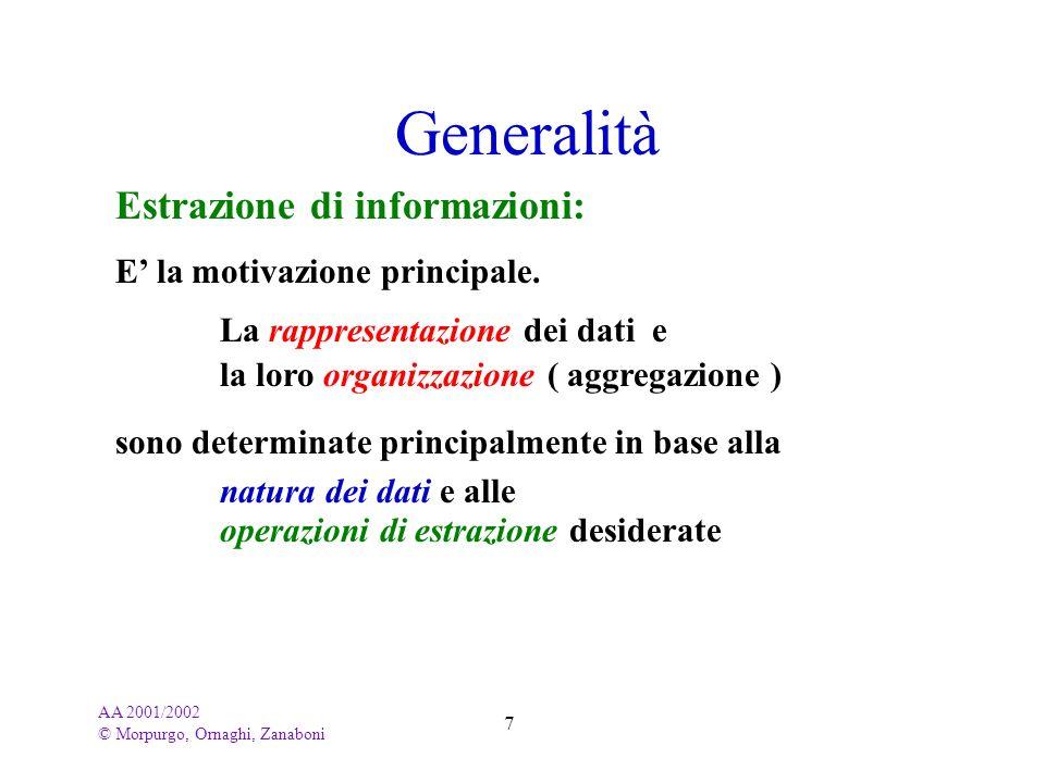 AA 2001/2002 © Morpurgo, Ornaghi, Zanaboni 7 Estrazione di informazioni: Generalità E la motivazione principale. La rappresentazione dei dati e la lor