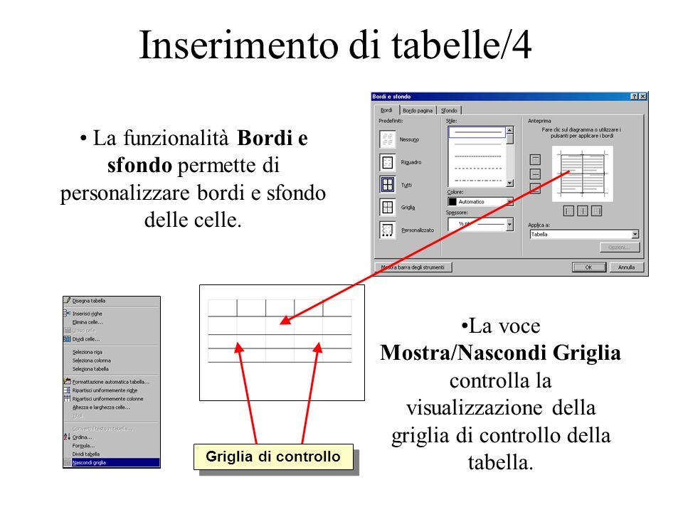 Inserimento di tabelle/4 La funzionalità Bordi e sfondo permette di personalizzare bordi e sfondo delle celle. La voce Mostra/Nascondi Griglia control
