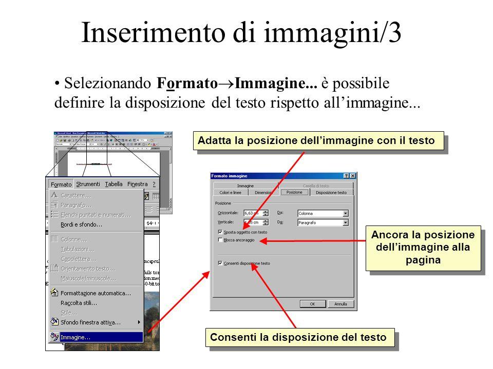 Inserimento di immagini/3 Selezionando Formato Immagine... è possibile definire la disposizione del testo rispetto allimmagine... Consenti la disposiz