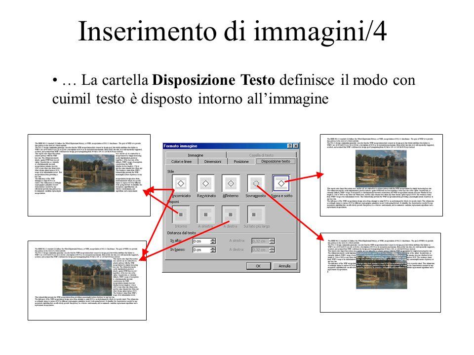Inserimento di immagini/5 Tenendo premuto il tasto sinistro del mouse è possibile spostare/ridimensionare le immagini inserite.
