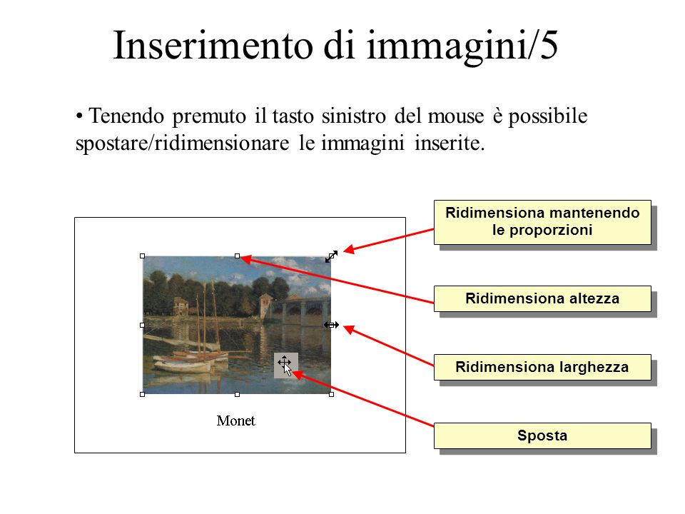 Inserimento di immagini/5 Tenendo premuto il tasto sinistro del mouse è possibile spostare/ridimensionare le immagini inserite. Ridimensiona mantenend