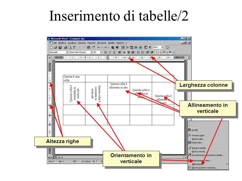 Inserimento di tabelle/2 Altezza righe Larghezza colonne Allineamento in verticale Orientamento in verticale