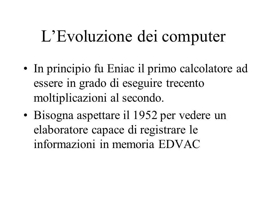 LEvoluzione dei computer In principio fu Eniac il primo calcolatore ad essere in grado di eseguire trecento moltiplicazioni al secondo.