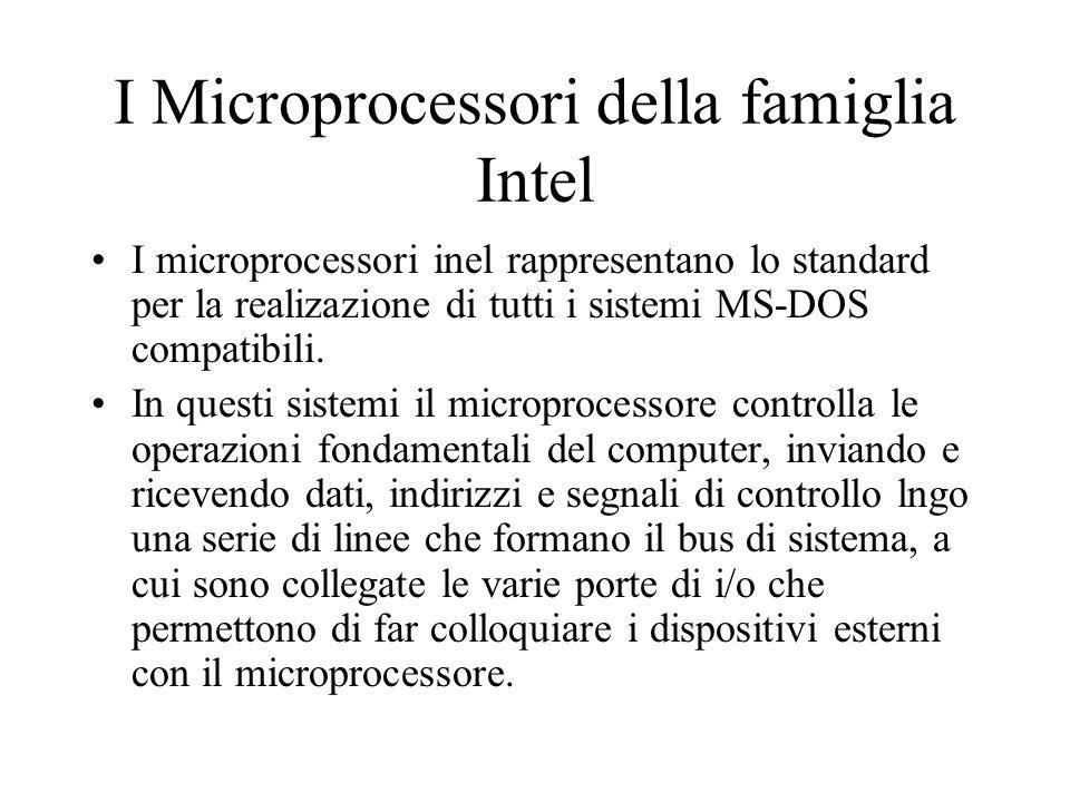 I Microprocessori della famiglia Intel I microprocessori inel rappresentano lo standard per la realizazione di tutti i sistemi MS-DOS compatibili.
