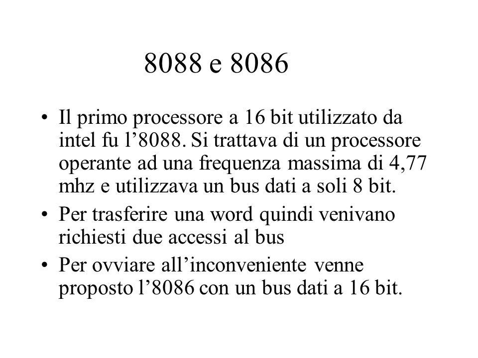 8088 e 8086 Il primo processore a 16 bit utilizzato da intel fu l8088. Si trattava di un processore operante ad una frequenza massima di 4,77 mhz e ut