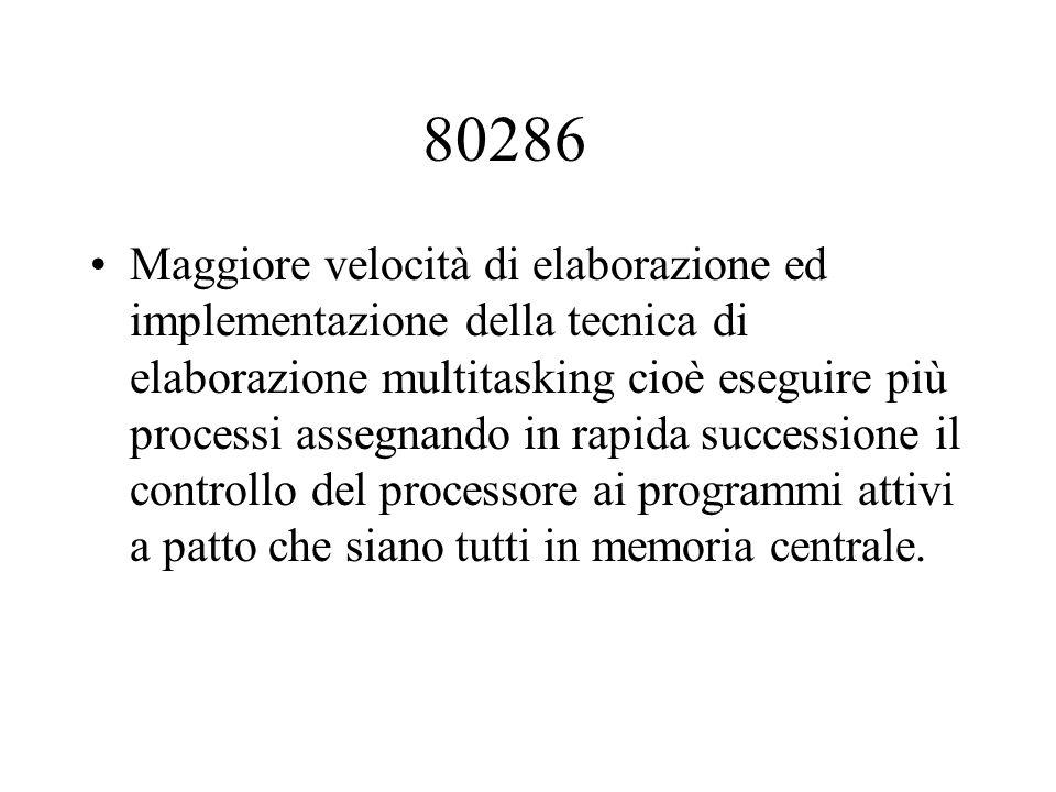 80286 Maggiore velocità di elaborazione ed implementazione della tecnica di elaborazione multitasking cioè eseguire più processi assegnando in rapida successione il controllo del processore ai programmi attivi a patto che siano tutti in memoria centrale.