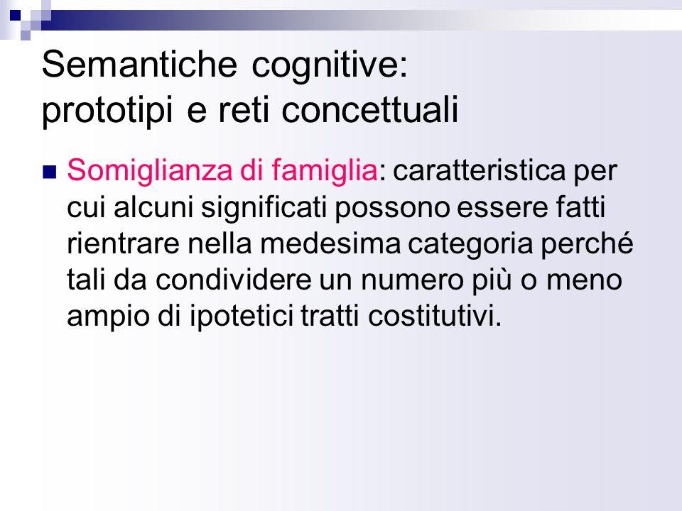 Semantiche cognitive: prototipi e reti concettuali Somiglianza di famiglia: caratteristica per cui alcuni significati possono essere fatti rientrare n