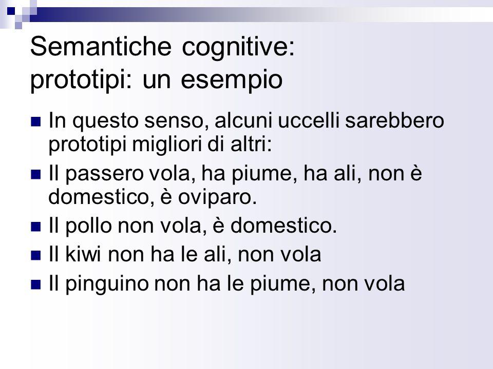 Semantiche cognitive: prototipi: un esempio In questo senso, alcuni uccelli sarebbero prototipi migliori di altri: Il passero vola, ha piume, ha ali,