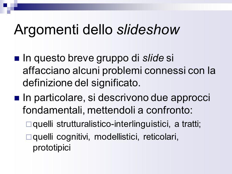 Argomenti dello slideshow In questo breve gruppo di slide si affacciano alcuni problemi connessi con la definizione del significato. In particolare, s
