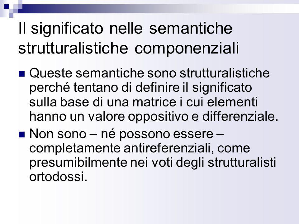 Semantiche componenziali: un esempio Consideriamo il campo semantico degli oggetti su cui sedersi: SofficeUn postoBraccioliSchienale4 gambe Sedia-+-++ Poltrona+++++ Sofà+-+++ Sgabello-+--- pouf++---
