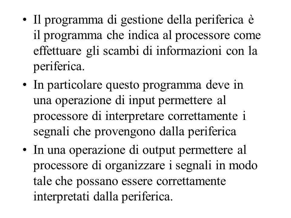 Il programma di gestione della periferica è il programma che indica al processore come effettuare gli scambi di informazioni con la periferica.