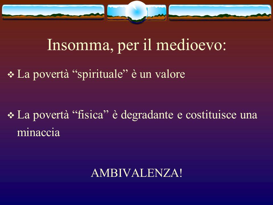 Insomma, per il medioevo: La povertà spirituale è un valore La povertà fisica è degradante e costituisce una minaccia AMBIVALENZA!