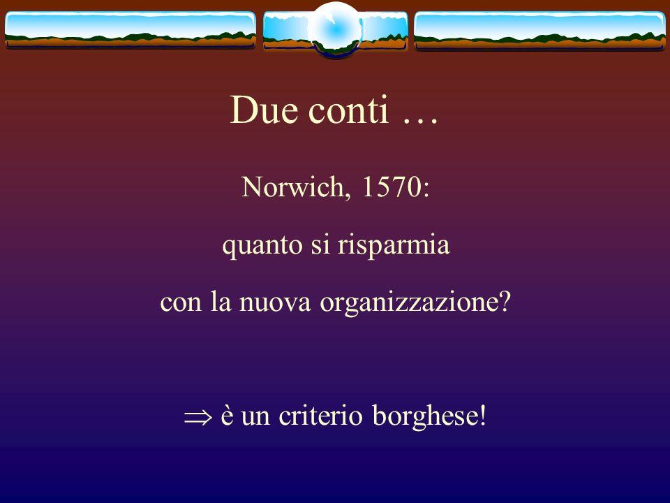Due conti … Norwich, 1570: quanto si risparmia con la nuova organizzazione? è un criterio borghese!