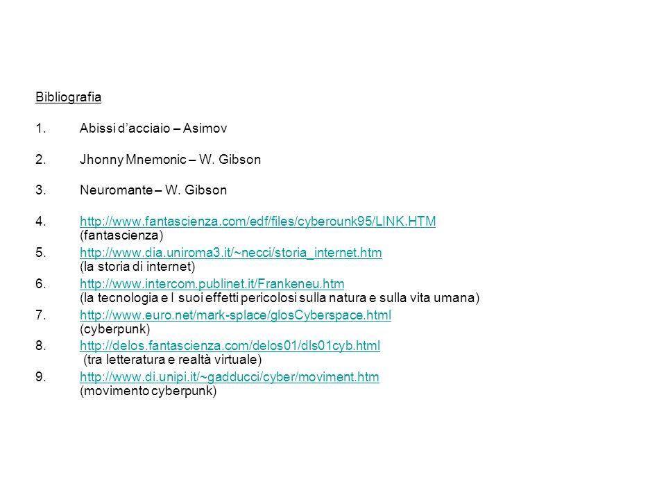 Bibliografia 1.Abissi dacciaio – Asimov 2.Jhonny Mnemonic – W. Gibson 3.Neuromante – W. Gibson 4.http://www.fantascienza.com/edf/files/cyberounk95/LIN