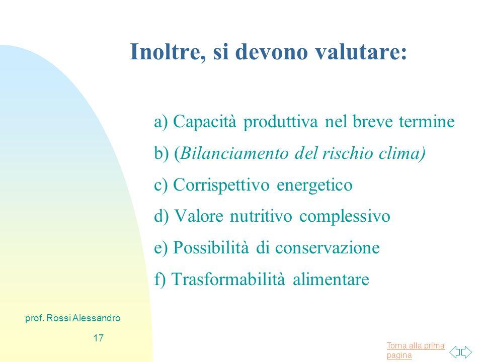 Torna alla prima pagina prof. Rossi Alessandro 16 Come si valuta la validità di un alimento.