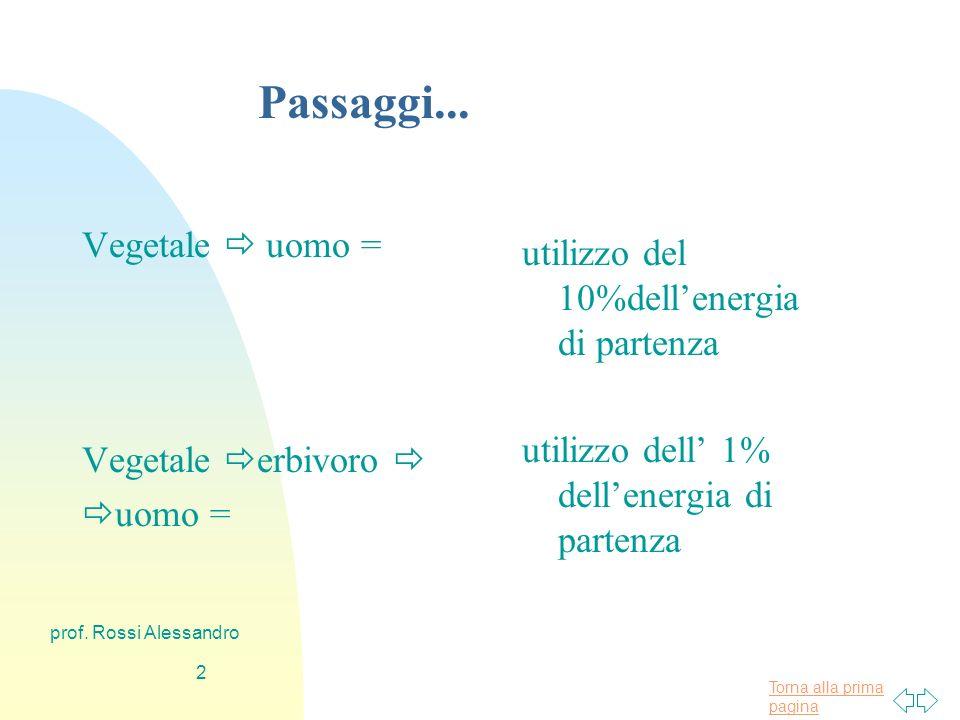 Torna alla prima pagina prof. Rossi Alessandro 1 Perché soprattutto alimenti di origine vegetale.