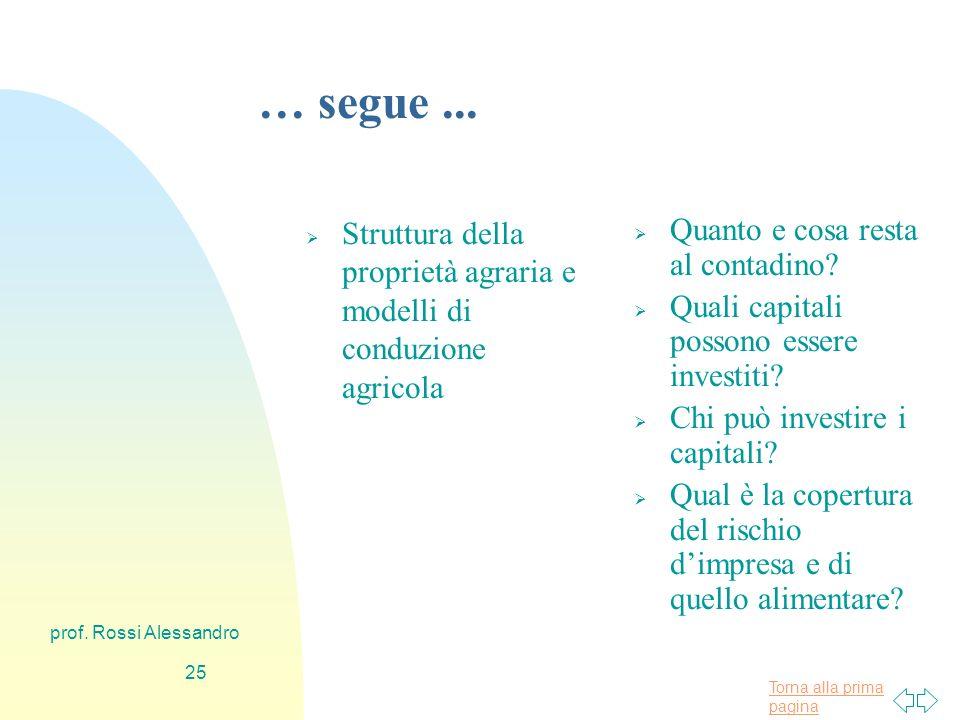 Torna alla prima pagina prof. Rossi Alessandro 24 … segue...