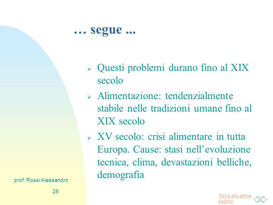 Torna alla prima pagina prof. Rossi Alessandro 25 … segue...