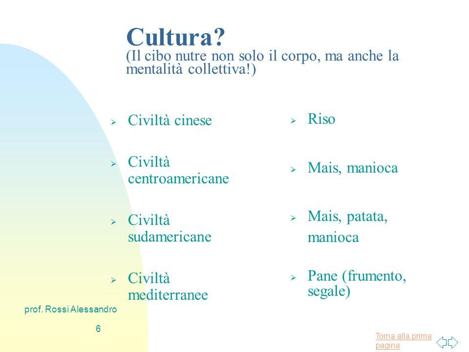 Torna alla prima pagina prof.Rossi Alessandro 16 Come si valuta la validità di un alimento.