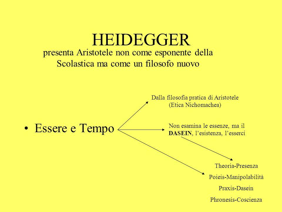 HEIDEGGER Essere e Tempo presenta Aristotele non come esponente della Scolastica ma come un filosofo nuovo Dalla filosofia pratica di Aristotele (Etic