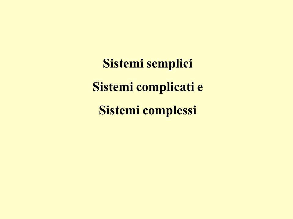 Sistemi semplici Sistemi complicati e Sistemi complessi