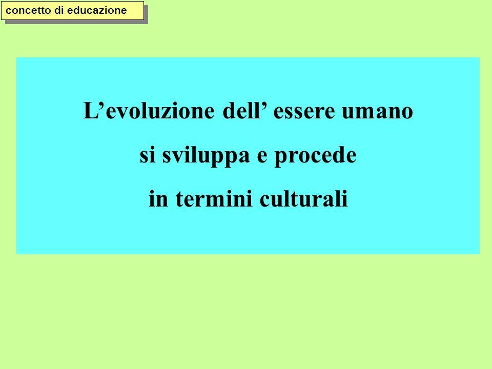 Levoluzione dell essere umano si sviluppa e procede in termini culturali concetto di educazione