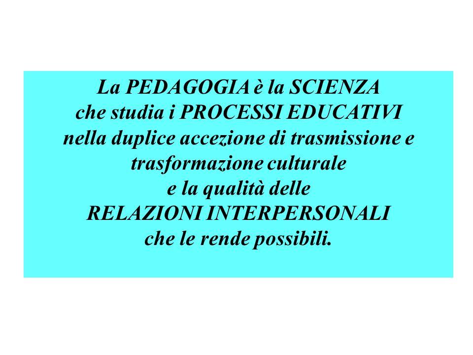 La PEDAGOGIA è la SCIENZA che studia i PROCESSI EDUCATIVI nella duplice accezione di trasmissione e trasformazione culturale e la qualità delle RELAZI