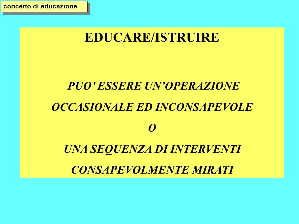 EDUCARE/ISTRUIRE PUO ESSERE UNOPERAZIONE OCCASIONALE ED INCONSAPEVOLE O UNA SEQUENZA DI INTERVENTI CONSAPEVOLMENTE MIRATI concetto di educazione