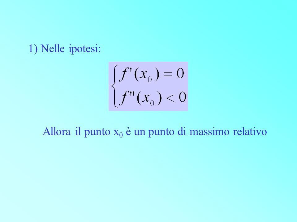 1) Nelle ipotesi: Allora il punto x 0 è un punto di massimo relativo
