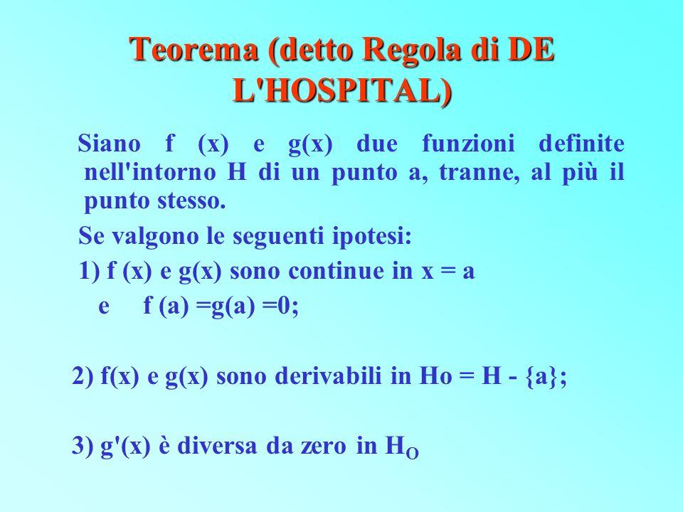 Teorema (detto Regola di DE L'HOSPITAL) Siano f (x) e g(x) due funzioni definite nell'intorno H di un punto a, tranne, al più il punto stesso. Se valg