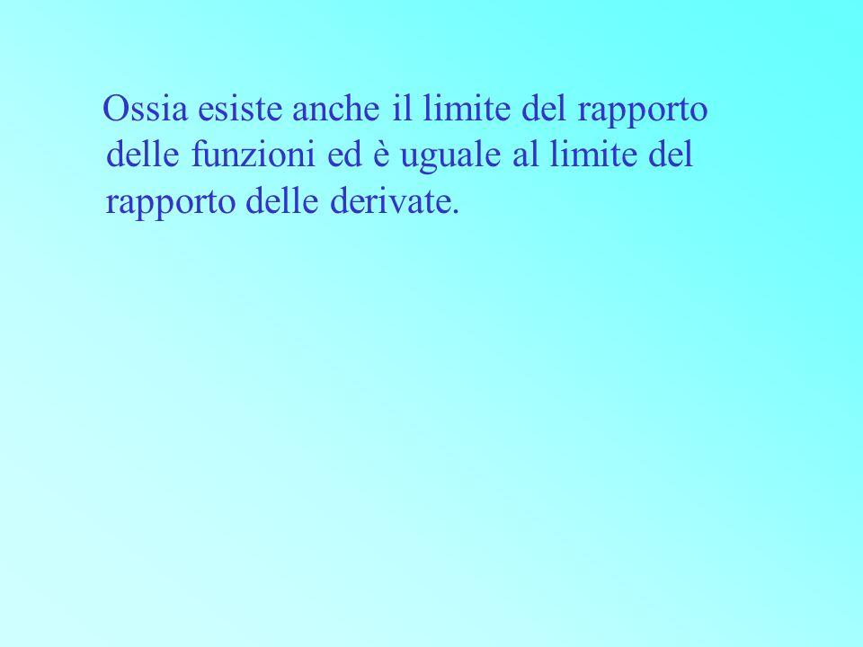 Ossia esiste anche il limite del rapporto delle funzioni ed è uguale al limite del rapporto delle derivate.