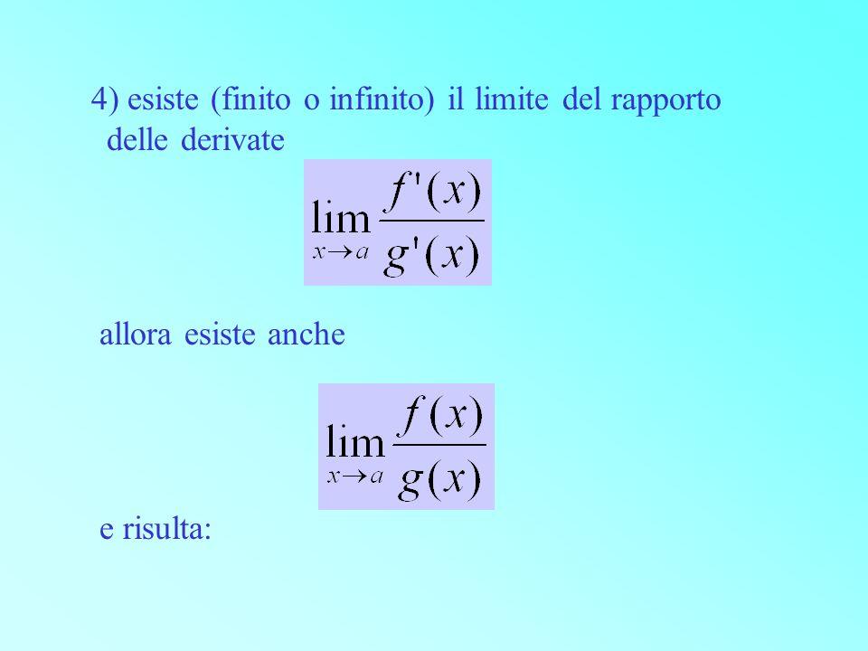 4) esiste (finito o infinito) il limite del rapporto delle derivate allora esiste anche e risulta: