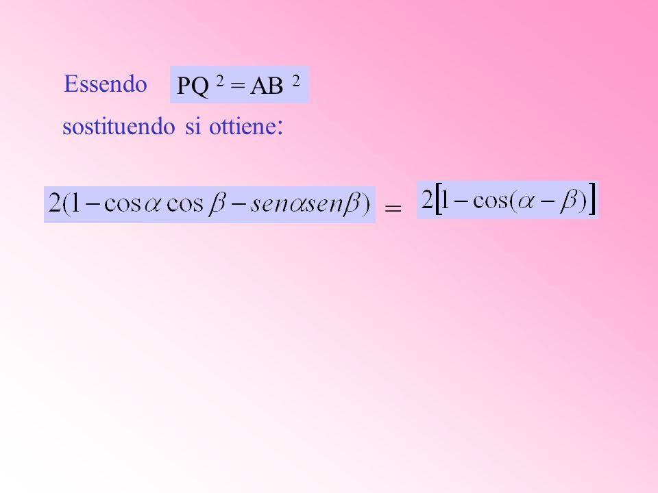 Essendo sostituendo si ottiene : = PQ 2 = AB 2