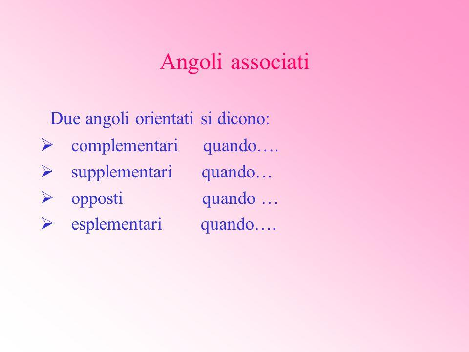 Si chiamano angoli associati allangolo alfa gli angoli le cui funzioni goniometriche sono complessivamente uguali, in valore assoluto, a quelle dellangolo alfa.