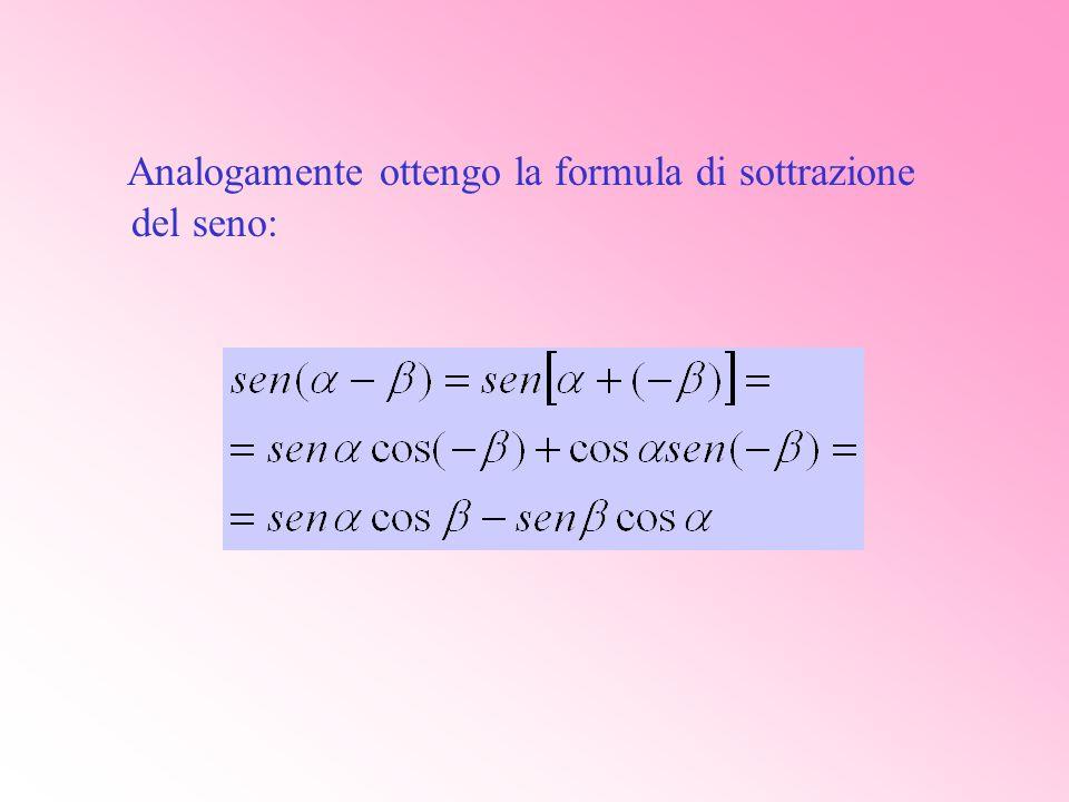 Analogamente ottengo la formula di sottrazione del seno: