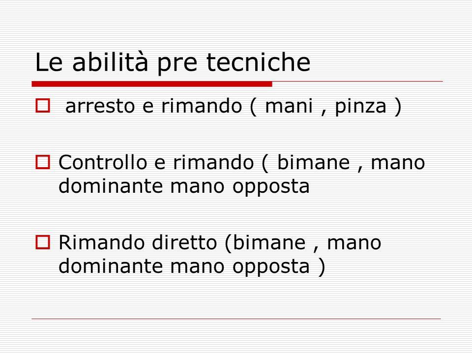 Le abilità pre tecniche arresto e rimando ( mani, pinza ) Controllo e rimando ( bimane, mano dominante mano opposta Rimando diretto (bimane, mano dominante mano opposta )