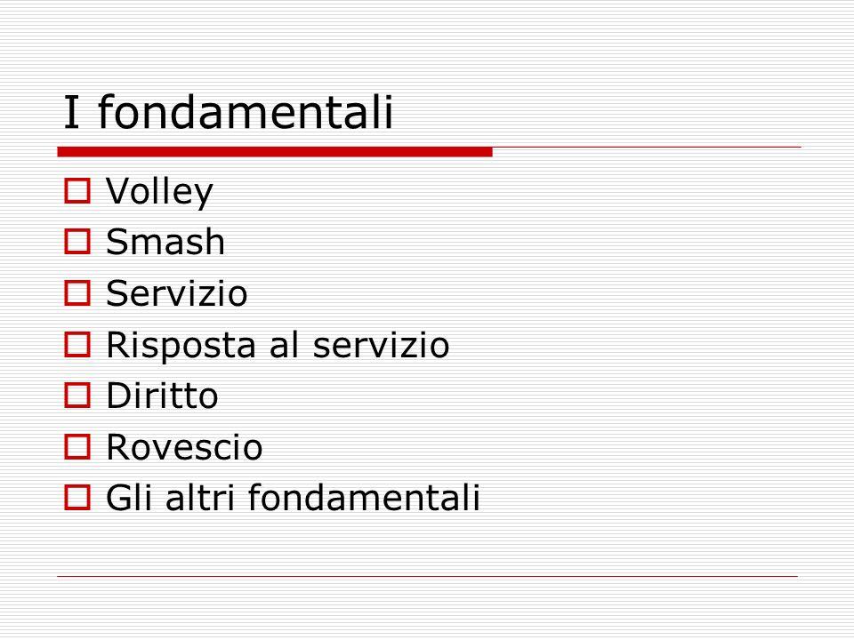 I fondamentali Volley Smash Servizio Risposta al servizio Diritto Rovescio Gli altri fondamentali