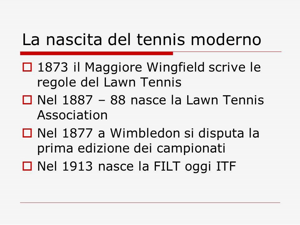 La nascita del tennis moderno 1873 il Maggiore Wingfield scrive le regole del Lawn Tennis Nel 1887 – 88 nasce la Lawn Tennis Association Nel 1877 a Wimbledon si disputa la prima edizione dei campionati Nel 1913 nasce la FILT oggi ITF