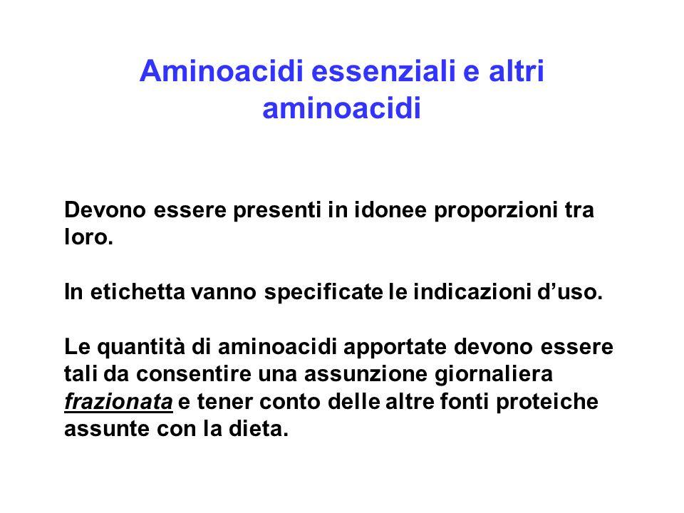 Aminoacidi essenziali e altri aminoacidi Devono essere presenti in idonee proporzioni tra loro. In etichetta vanno specificate le indicazioni duso. Le