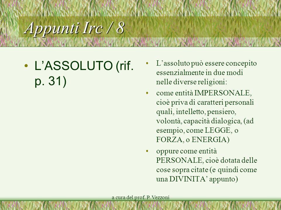 a cura del prof.P. Vezzoni Appunti Irc / 8 LASSOLUTO (rif.