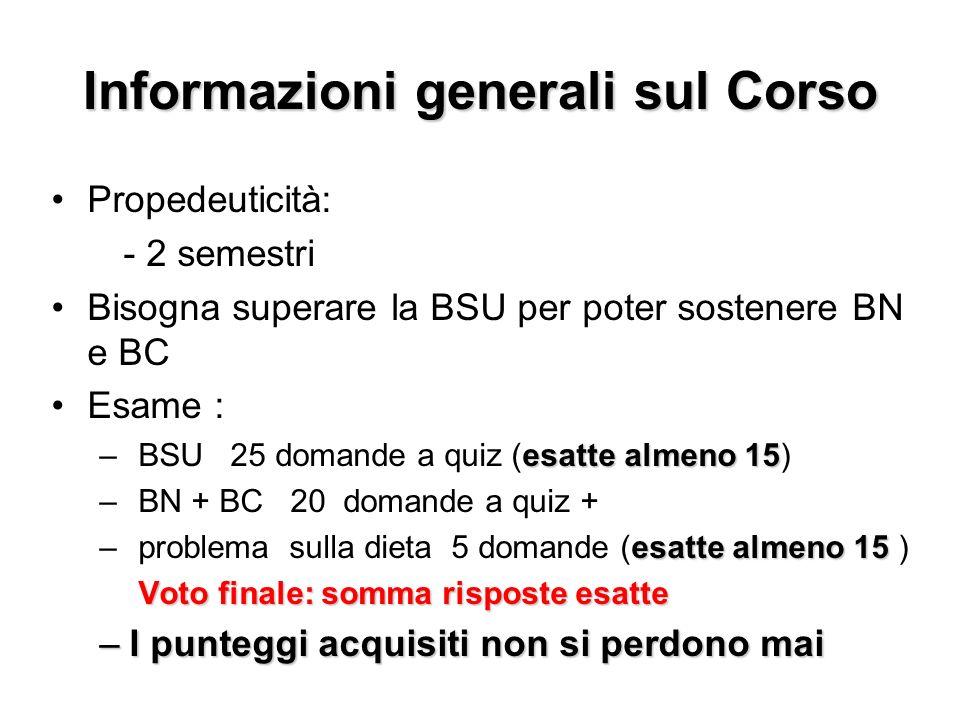 Informazioni generali sul Corso Propedeuticità: - 2 semestri Bisogna superare la BSU per poter sostenere BN e BC Esame : esatte almeno 15 – BSU 25 dom