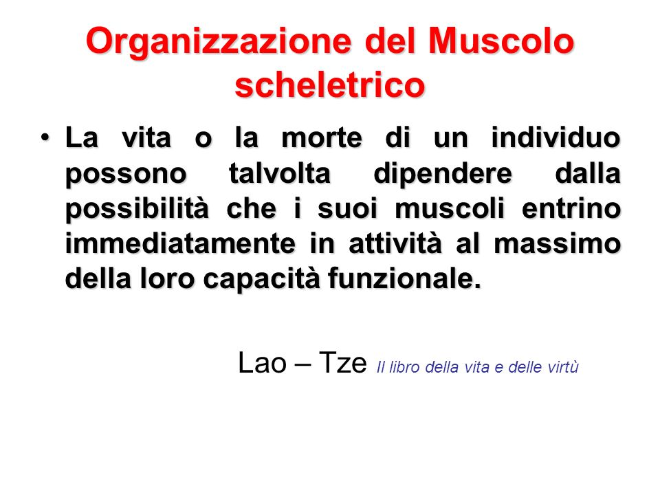 Organizzazione del Muscolo scheletrico La vita o la morte di un individuo possono talvolta dipendere dalla possibilità che i suoi muscoli entrino imme