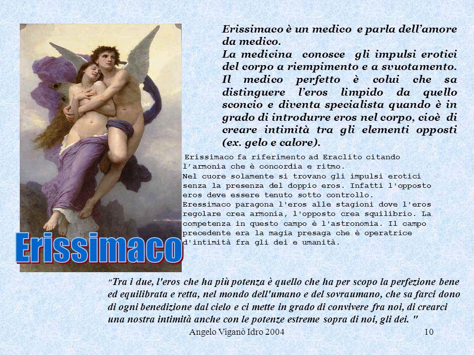 Angelo Viganò Idro 200410 Erissimaco è un medico e parla dellamore da medico. La medicina conosce gli impulsi erotici del corpo a riempimento e a svuo