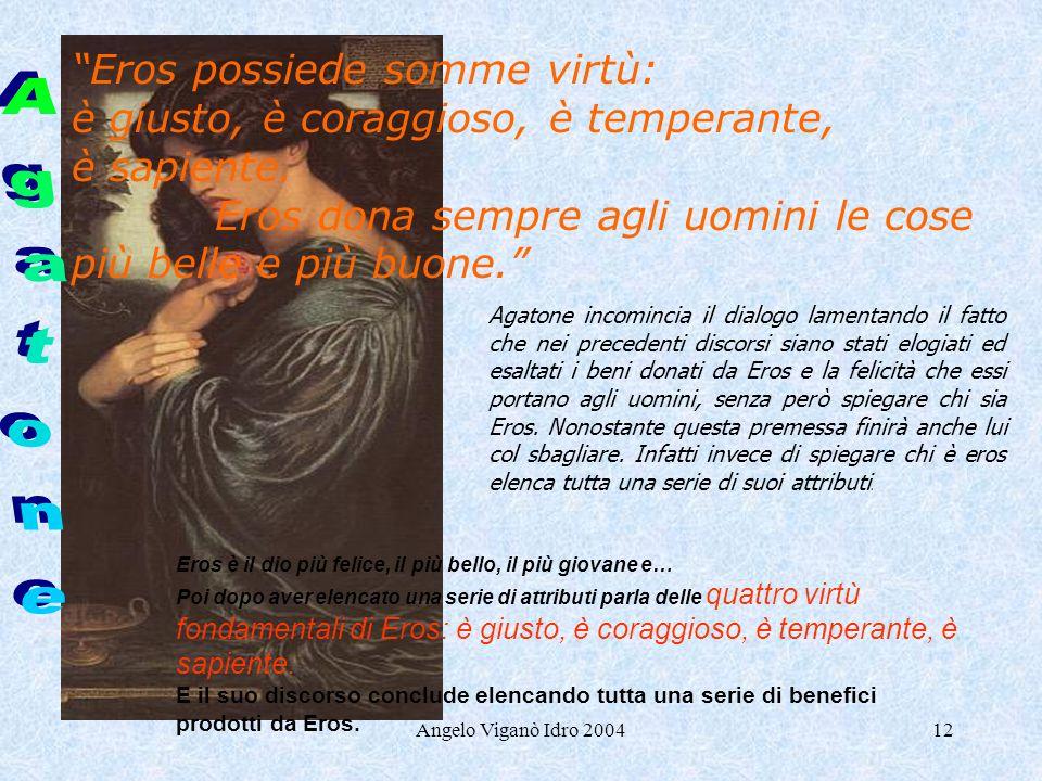Angelo Viganò Idro 200412 Agatone incomincia il dialogo lamentando il fatto che nei precedenti discorsi siano stati elogiati ed esaltati i beni donati