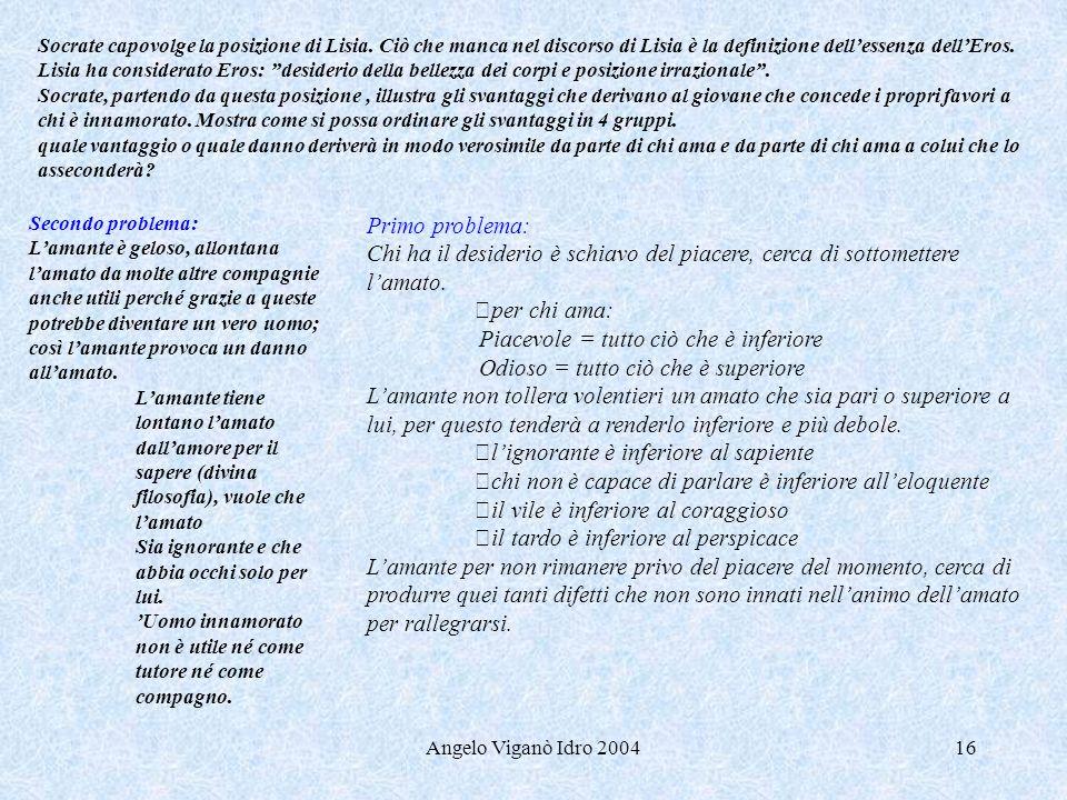 Angelo Viganò Idro 200416 Socrate capovolge la posizione di Lisia. Ciò che manca nel discorso di Lisia è la definizione dellessenza dellEros. Lisia ha