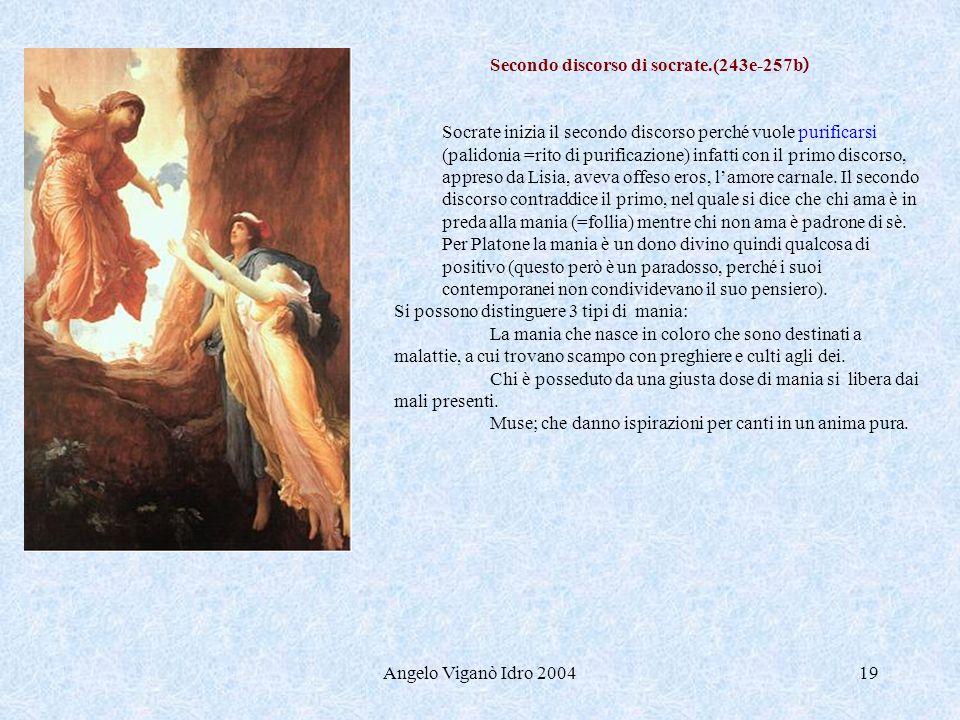 Angelo Viganò Idro 200419 Secondo discorso di socrate.(243e-257b ) Socrate inizia il secondo discorso perché vuole purificarsi (palidonia =rito di pur