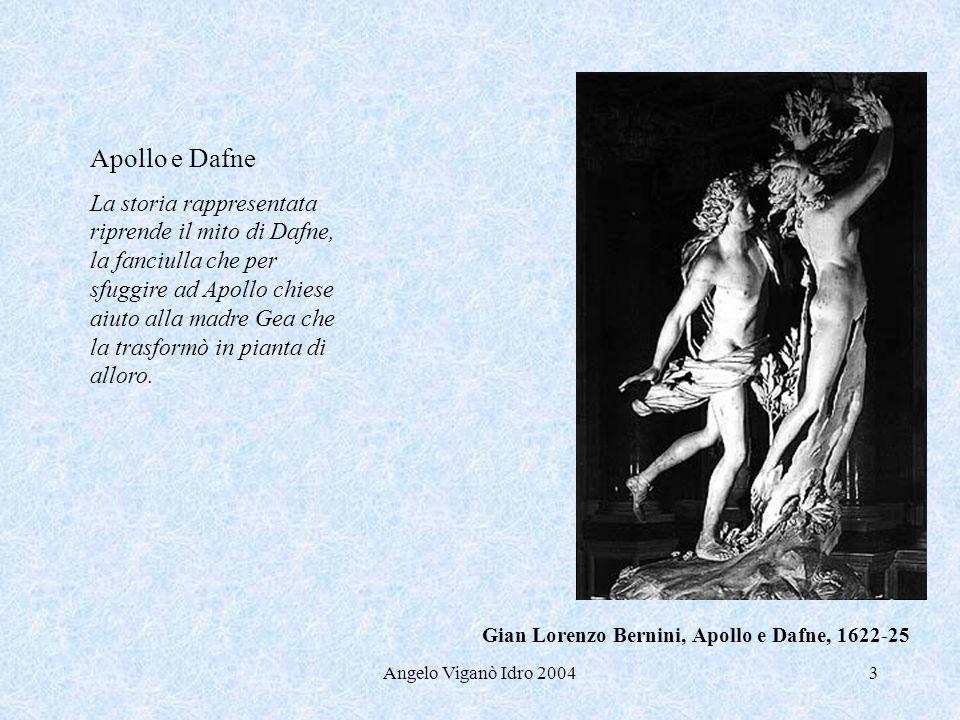 Angelo Viganò Idro 20043 Apollo e Dafne La storia rappresentata riprende il mito di Dafne, la fanciulla che per sfuggire ad Apollo chiese aiuto alla m