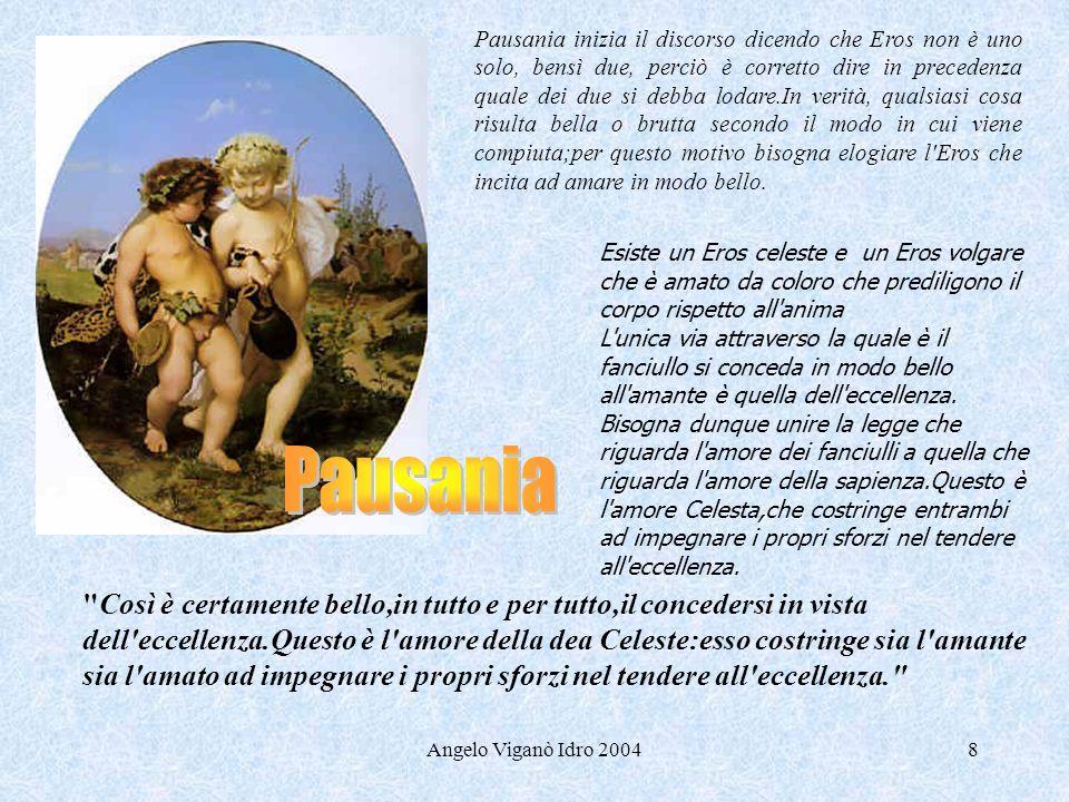 Angelo Viganò Idro 20048 Pausania inizia il discorso dicendo che Eros non è uno solo, bensì due, perciò è corretto dire in precedenza quale dei due si