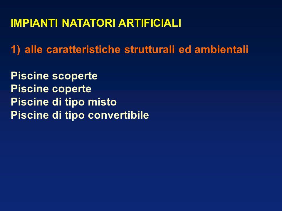 IMPIANTI NATATORI ARTIFICIALI 1)alle caratteristiche strutturali ed ambientali Piscine scoperte Piscine coperte Piscine di tipo misto Piscine di tipo